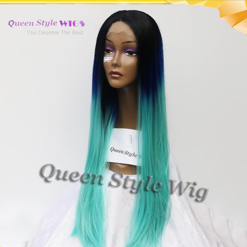 2017 de moda color sedoso recto color negro raíz dos tonos azul ombre peluca de pelo sintético pelucas delanteras del cordón para la señora de la moda