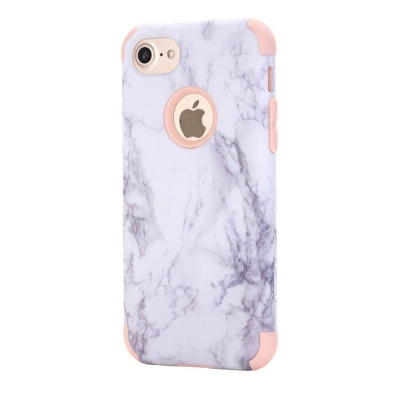 2017 New case For Apple iphone 7 plus silicone soft TPU + hard PC case cell phone cases 3 in 1 marble grain shell