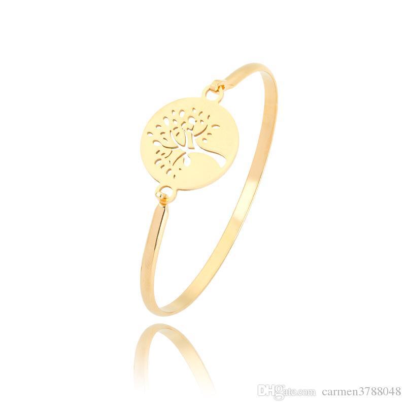 18 k altın kaplama paslanmaz çelik infinity bilezikler bileklik kadınlar için aşk kalp hayat ağacı çapa infinity charm bilezik