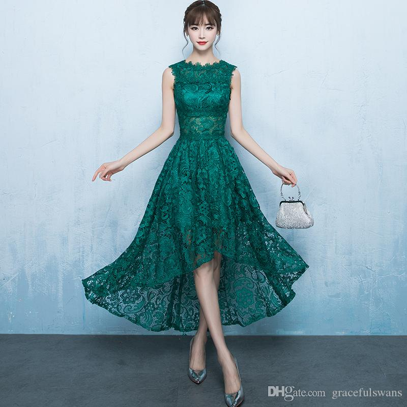 High Low Lace Prom Dress Gowns 2017 O Neck Tank Sheer Waist Emerald