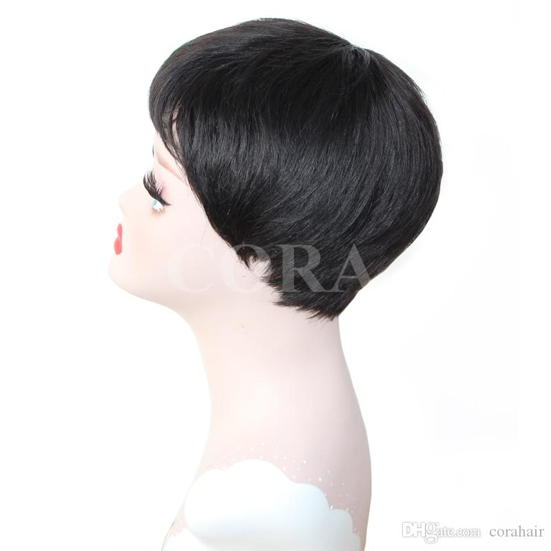 7A Soft feeling Natural Straight Indian Remy Short wigs Pixes Style Rihanna Virgin Peruvian Hair Part Wig Lace Front Wigs