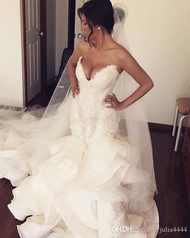 Mermaid Wedding Dresses Pnina Tornai Cathedral Ruffles Train 2018 Beaded Crystal Sweetheart Princess Dubai Arabic Wedding Gowns
