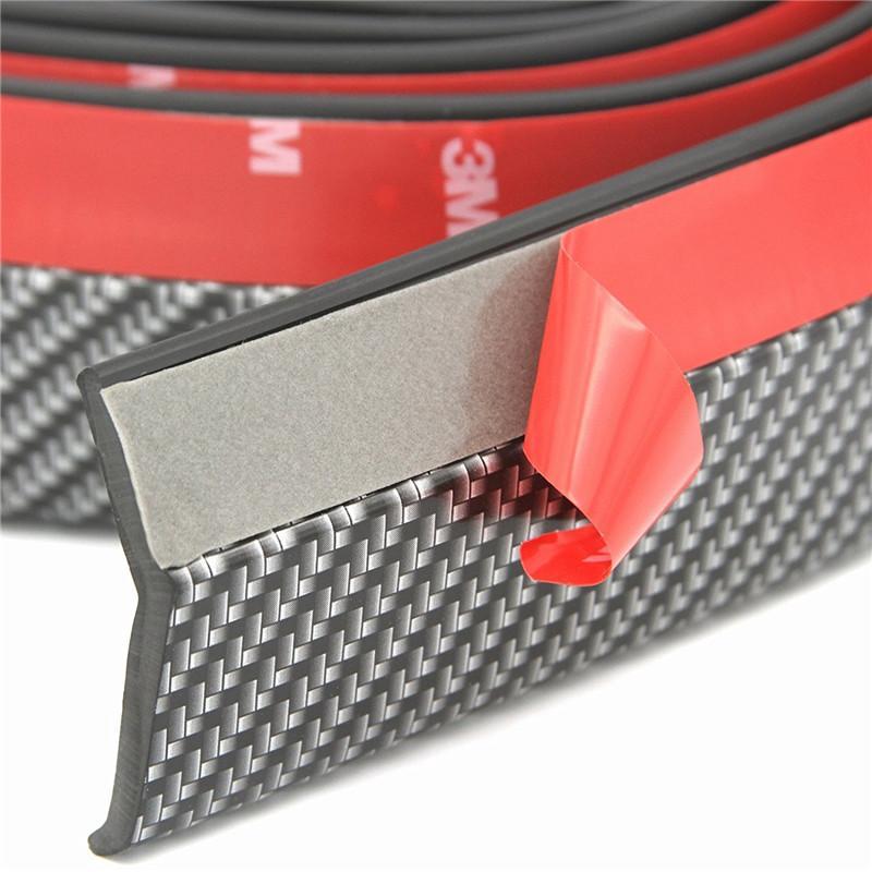 8.2 pies universal de fibra de carbono del parachoques delantero Alerón de caucho EPDM anti-arañazos de labios divisor de parachoques para los coches SUV Camiones