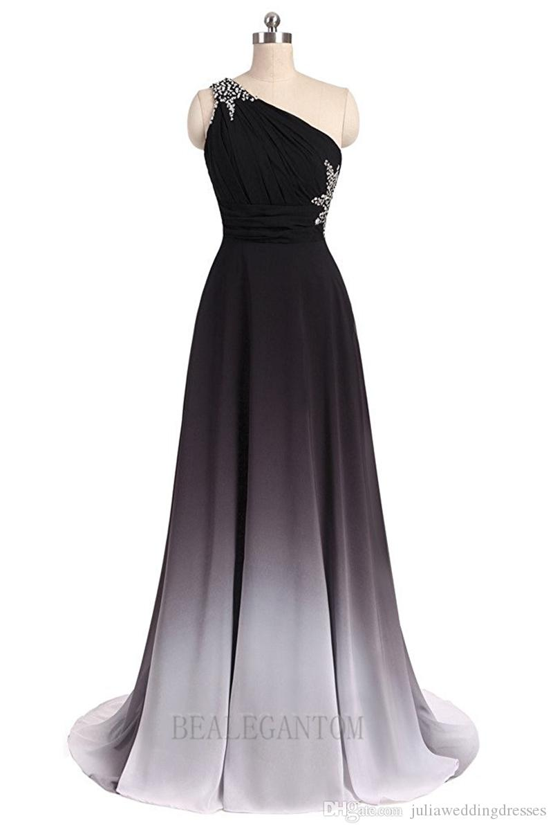 2018 New Sexy One Shoulder Ombre Long Evening Prom Dresses Chiffon A Line Plus Size Floor-Length Formal Party Gown BM05