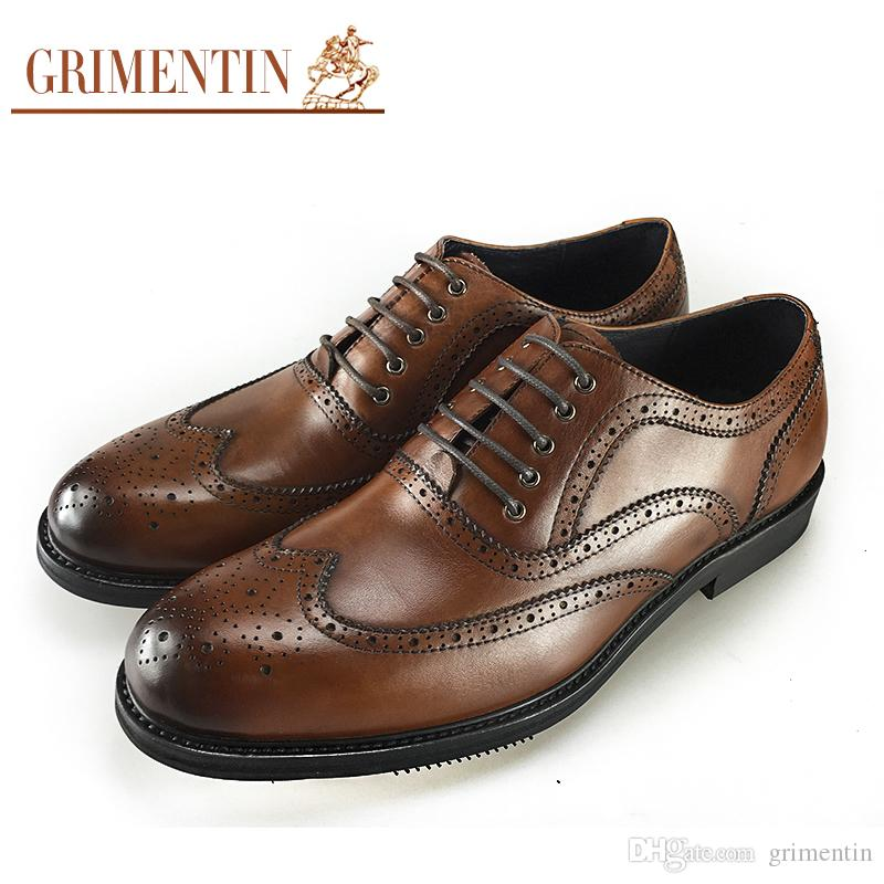 68c7bdb37 GRIMENTIN Hot Sale Italian Fashion Formal Mens Dress Shoes 2019 New Leather  Men Oxford Shoes Genuine Leather Business Wedding Men Shoes Brown Shoes  Strappy ...
