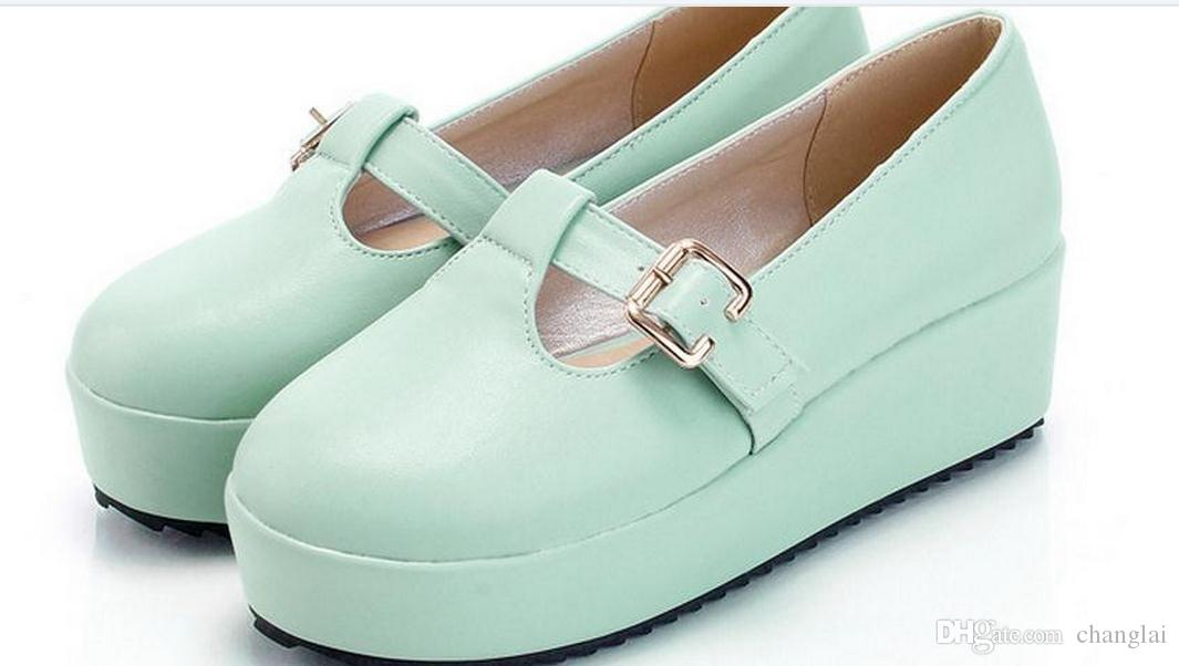 Women's shoes Round head wedges shallow mouth shoe buckles FuRuiSource