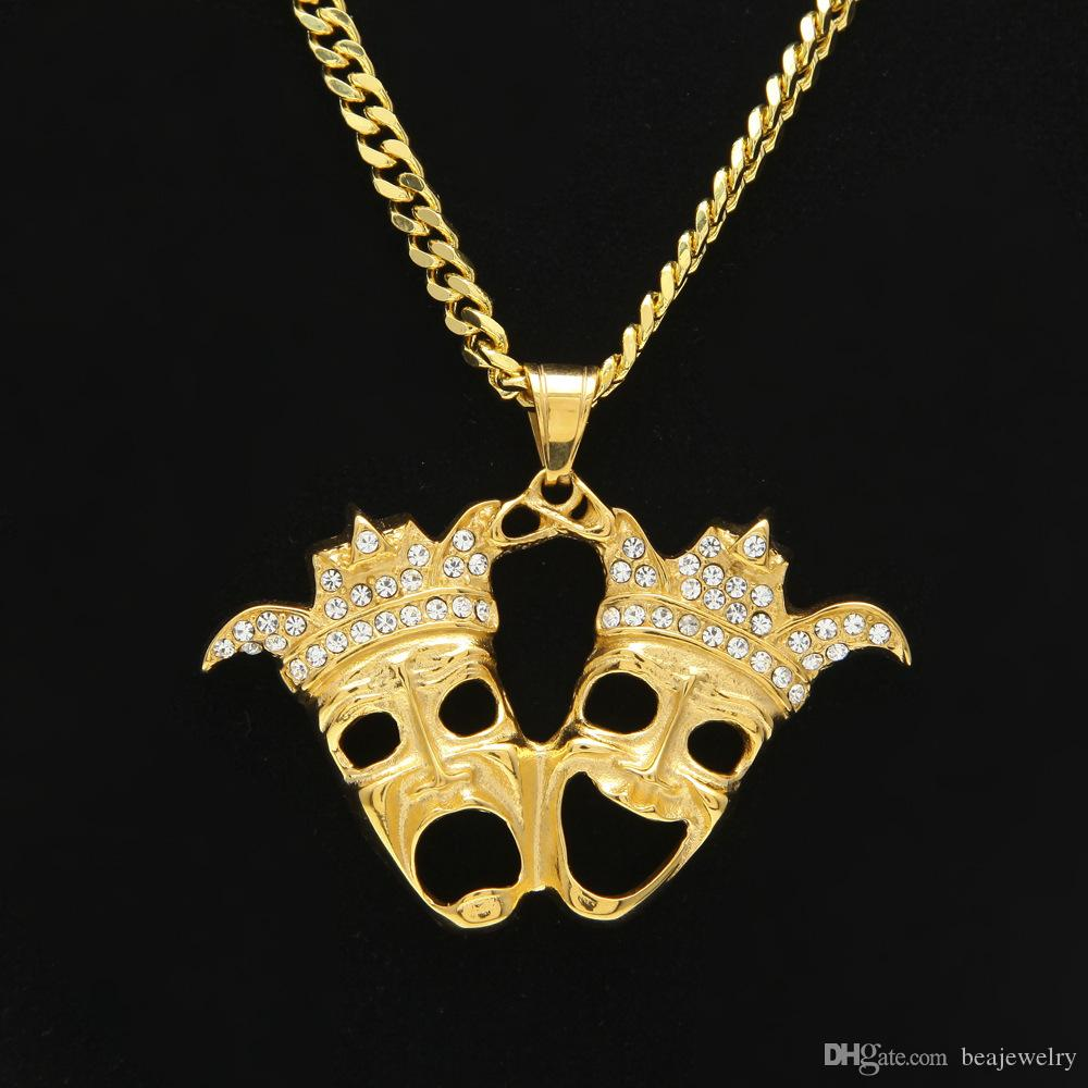 Wholesale stainless steel gold plated clown pendant necklace double wholesale stainless steel gold plated clown pendant necklace double crown head laughing and crying charm fashion gift movie jewelry lariat necklace aloadofball Gallery