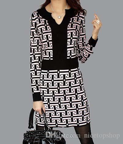 Primavera nova chegada das mulheres vestido de manga longa grids com decote em v vestidos de uma peça por atacado