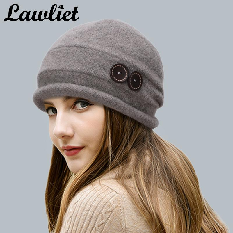 Wholesale Lawliet Women Wool Hat Cap Winter Beanie Hat Wool Knitted Hats  With Button CRYSTAL Ladies Fashion Warm Bonnet Women Skullies Cap Baby  Beanies ... 950b576e84