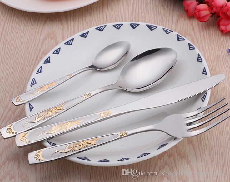 / set nouvelle arrivée Vaisselle Gold Plate Set Couverts Set Vaisselle Couverts Set avec boîte-cadeau