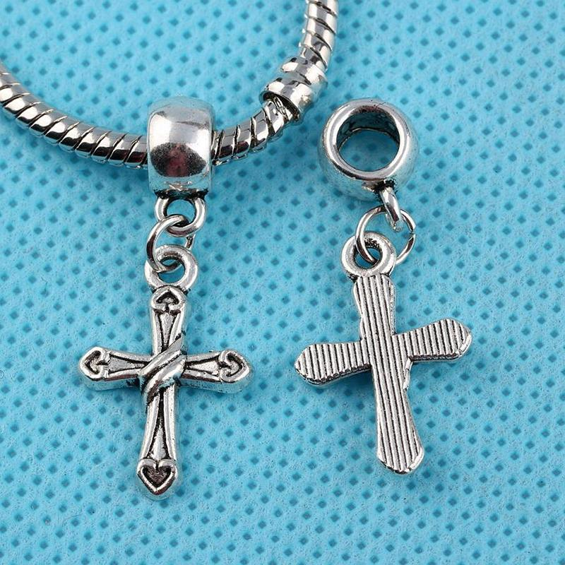 Antique Silver Vintage Cross Crucifix Charms Pendants For Bracelet Necklace Jewelry Making Findings Components DIY Accessories 100pcs Z212