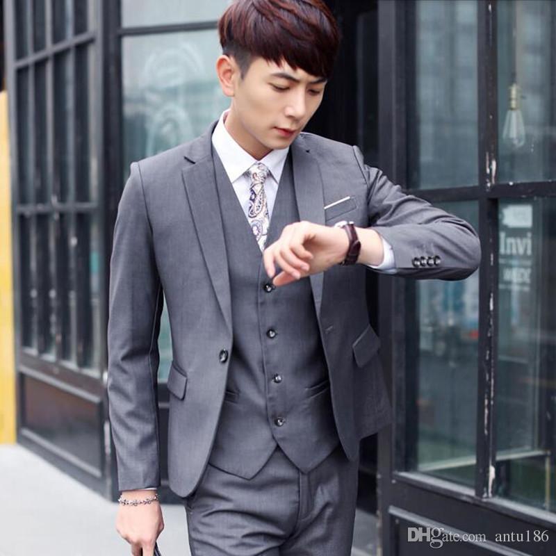 Son erkek takım elbise moda damat düğün takımları düz renk yaka bir düğme iş resmi durum elbise takımları ceket + pantolon + yelek