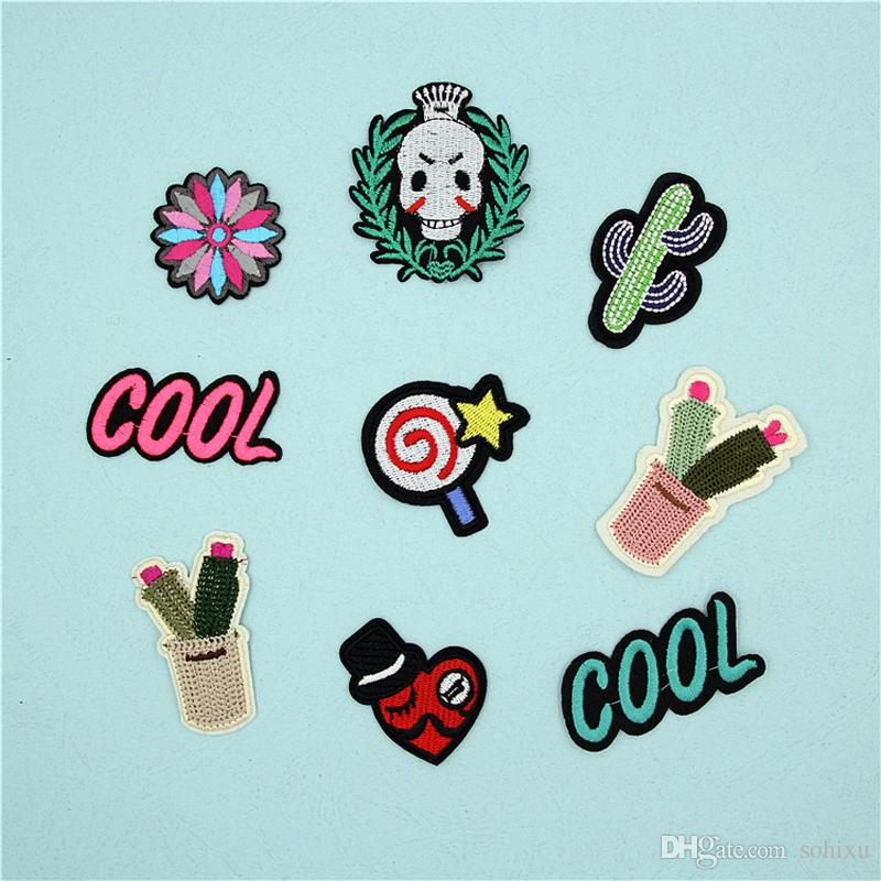 10 pz Iron On Patch Per Abbigliamento Cactus Cranio parches ropa Indumento Decor Ricamato Punk Patch Trim Patchwork Vestito Bambini Distintivo Appliqued