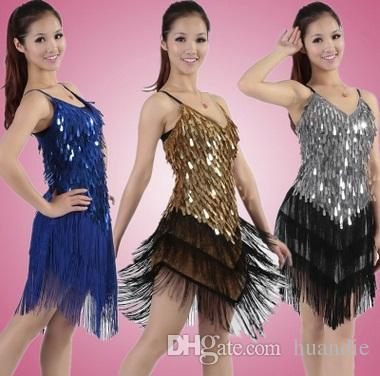 d5606e309 Women's sexy tassel fringe latin ballroom salsa cha cha Samba rumba jive  dancewear competition Sequin fancy dress costumes