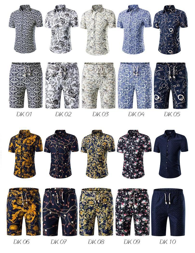5139648eff405 2019 Men Shirts+Shorts Set New Summer Casual Printed Hawaiian Shirt ...