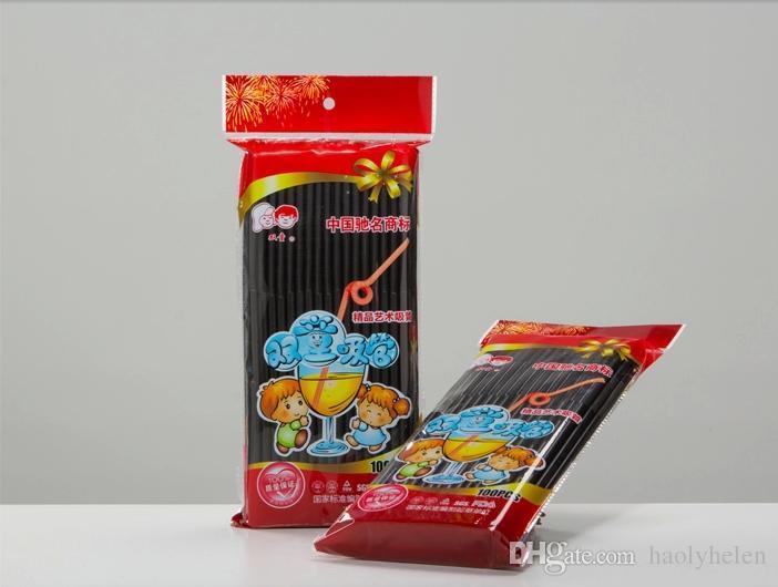 Black Plastic Drinking Straws Flexible 6*260mm PP Drink Straw Party Event Bar Pub Hotel Supplies Fast