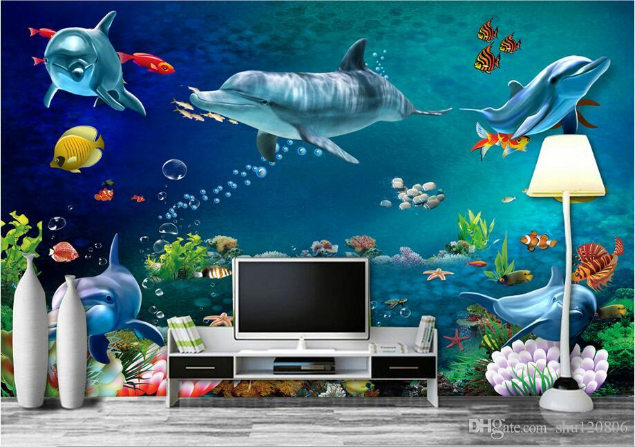3d wallpaper custom photo mural Sea world dolphin fish scenery room decoration painting 3d wall murals wallpaper for walls 3 d