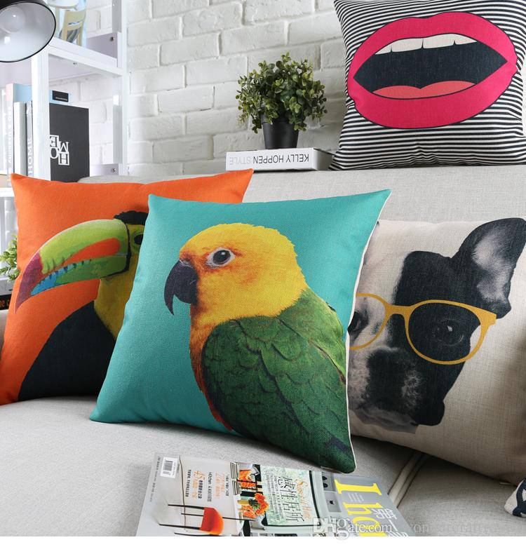 Bird Parrot Toucan Deer Bulldog Cushion Covers Candy Colour Pineapple Pillow Cover Decorative Linen Cotton Pillow Case For Sofa Seat Chair