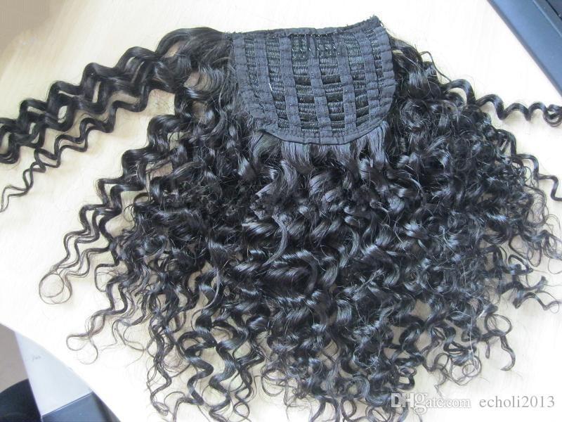 Queue de cheval frisée crépue pour les femmes noires Cheveux bouclés non remy Afro naturel 1 pièce Clip en queues de cheval 100% cheveux humains 14 pouces 120g