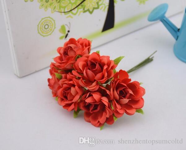 6 stks / set Silk Rose Artificial Flower Boeket voor Bruiloft Woondecoratie Mariage Bloemen Kleding Hoeden Accessoires Rosa Bloemen