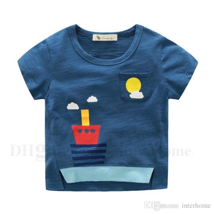 Ropa para niños Niños Camisetas Tops de algodón de verano Camisetas de rayas de manga corta Camisas para niños de dibujos animados Camisa estampada de barco de dinosaurio es H565