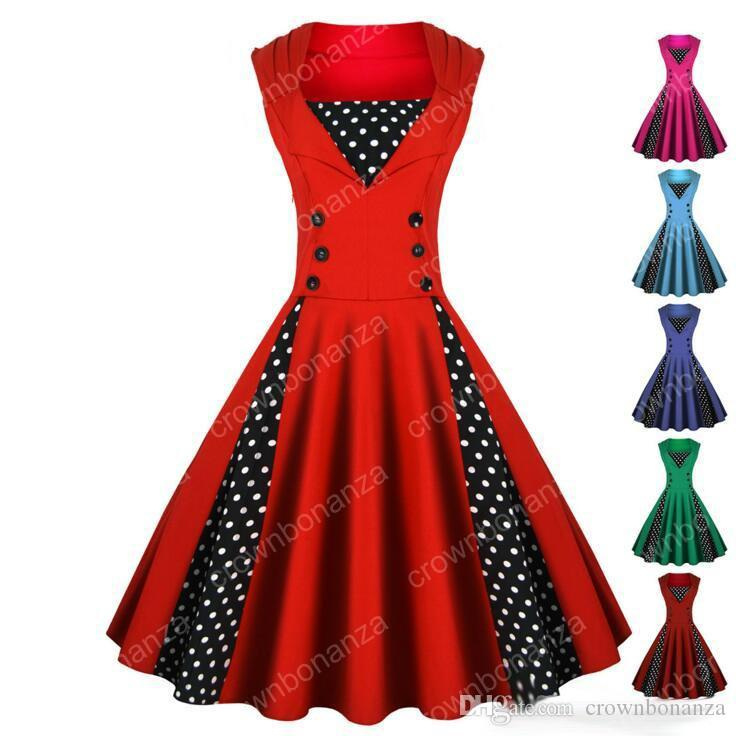 Dot Vintage Dresses Women Plus Size Peplum Dress Summer Slim Polk Beach Evening Dress Lady Sexy Sleeveless Retro Party Casual Dress