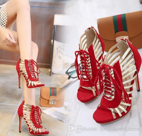 2017 patchwork tacones altos peep toe gladiador sandalias mujeres oro banda estrecha recortes sandalia feminina botines de verano botines