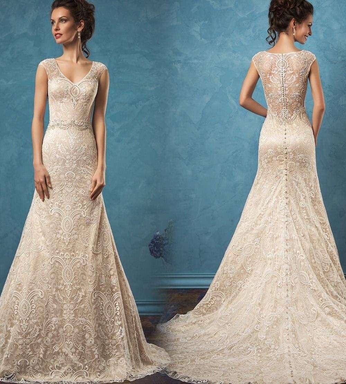 Compre Vestido Noiva Elegante Largo Vestido De Novia Sexy Deep V ...