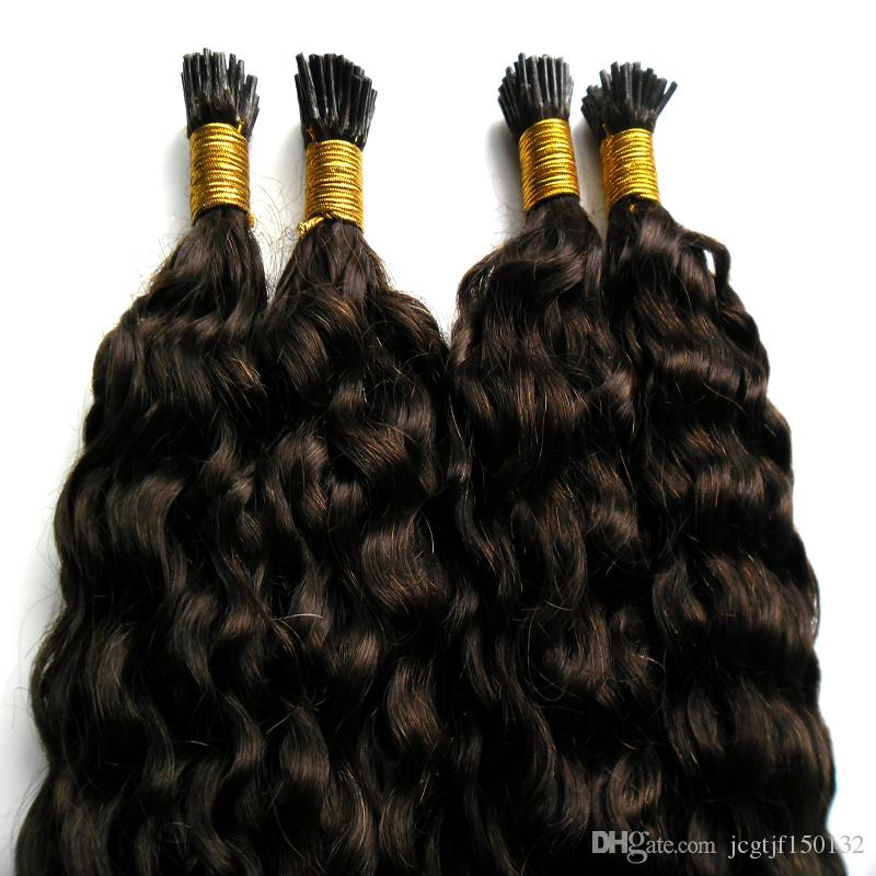 #2 Darkest Brown brazilian virgin hair keratin hair extension deep wave i tip extensions 200g/strands pre bonded hair extensions