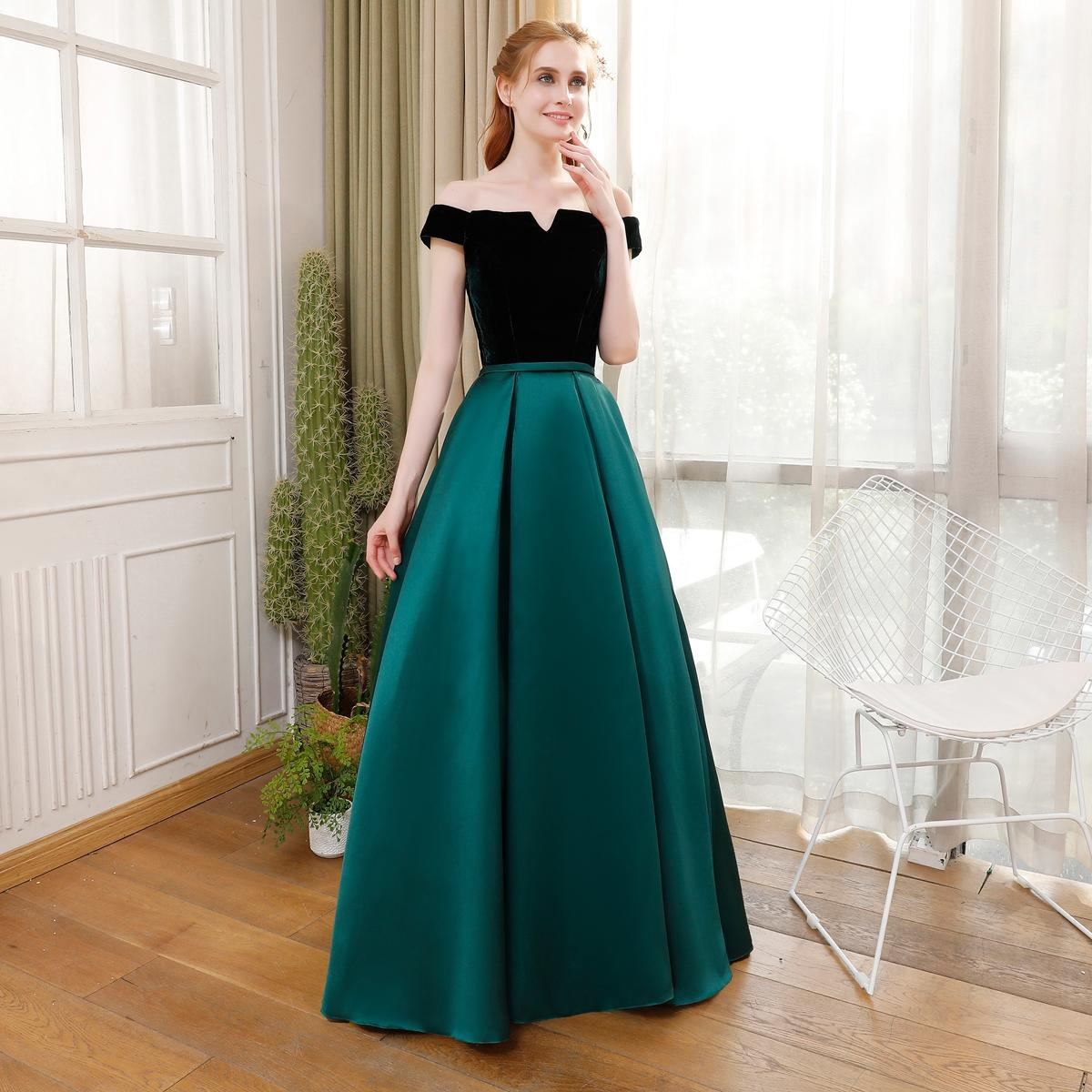 fashion banquet simple elegant evening dress bride boat neck velvet with satin vintage long prom formal gown robe de soiree plus size bolero jackets for
