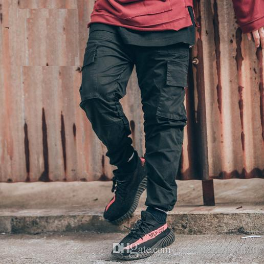 TOP kanye west korean hiphop fashion urban clothing men's jumpsuit man black joggers 30-36 designer jogger men cargo pants