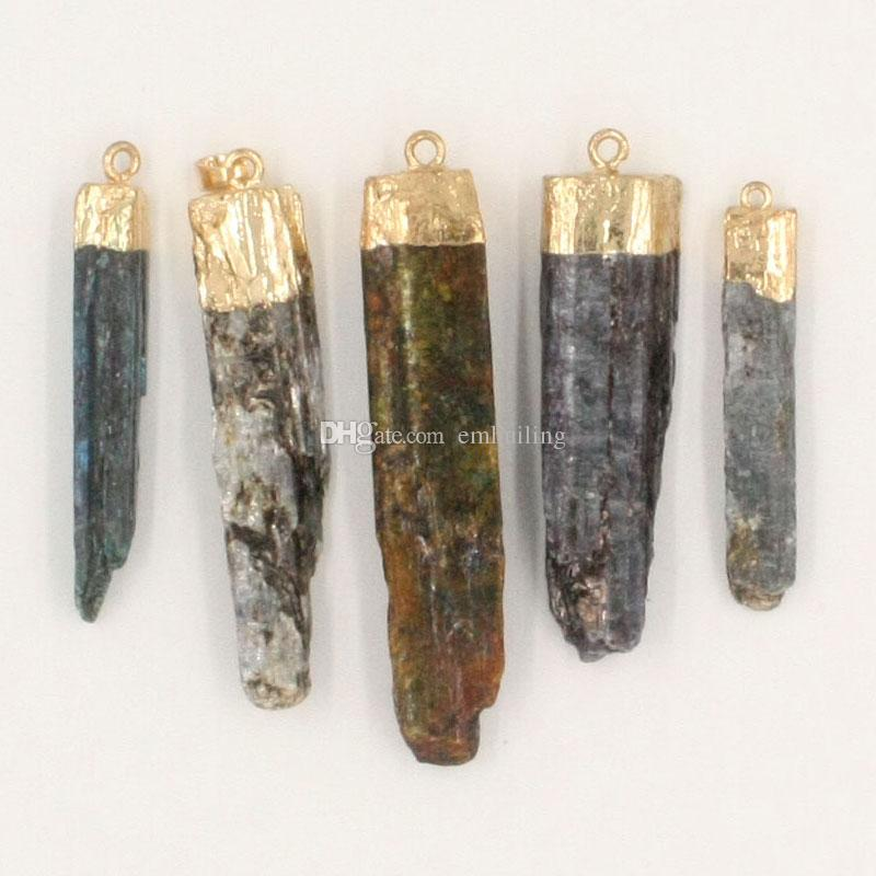 Raw Kyanite Quartz Bar Pendant Mixed Random Color Natural Kyanite Crystal Rock Beads Cabochon Gold Dipped Edging Charm Wholesale Random Size