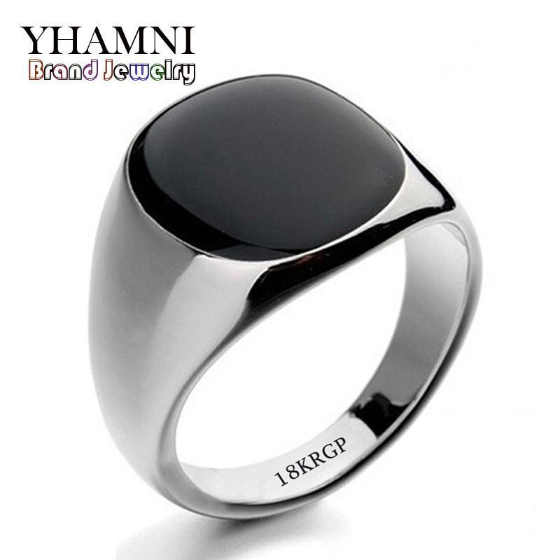 YHAMNI Mode Noir Anneaux De Mariage Pour Hommes Marque De Luxe Noir Onyx Pierres Cristal Anneau De Mode 18KRGP Anneaux Hommes Bijoux R0378