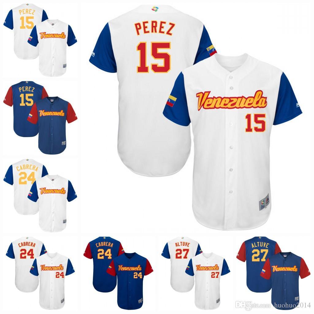 a9c6eb863c2b97 Men Venezuela 2017 World Baseball Classic Jersey 15 Salvador Perez ...