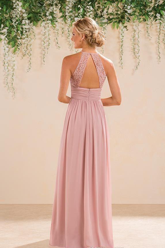 Nuevo Jasmine Bridal Blush Pink Vestidos de dama de honor Estilo rural Cuello halter Encaje Gasa Longitud completa Formal Prom Vestidos de fiesta a medida