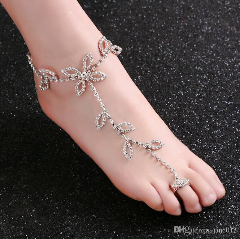Fashion Jewelry Women Silver Metal Fashion Anklet Leg Foot Chains Body Jewelry Love Bling Charms Choice Materials Jewelry & Watches