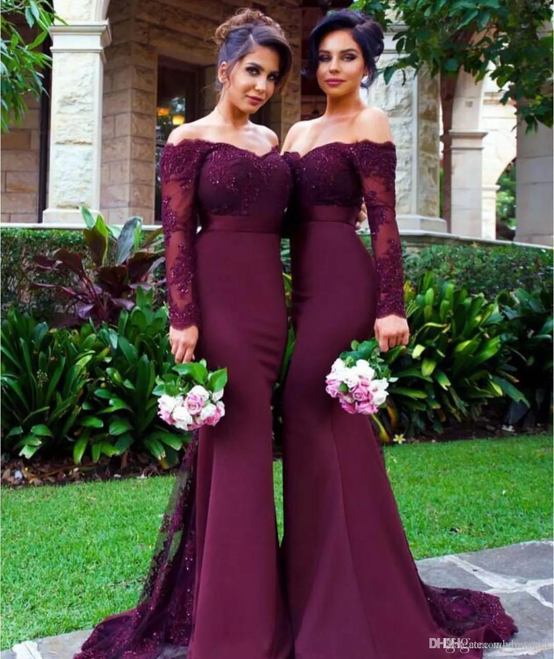 Burgundy off shoulder bridesmaid dresses cheap long beaded burgundy off shoulder bridesmaid dresses cheap long beaded appliqued wedding guest dress floor length sleeves mermaid formal gowns charcoal grey bridesmaid ombrellifo Gallery