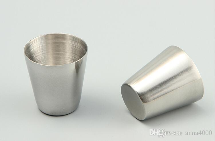 All'ingrosso-30ml Bicchierini portatili in acciaio inossidabile Bicchieri birra Bicchierini bere all'aperto