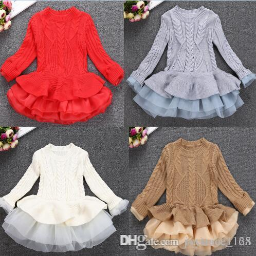 69acc0c8868 INS Styles New Girl Kids Autumn Winter Princess Organza Silk Dress Cotton Knitted  Long Sleeves For Children Fashion Elegant Dress Knitting Patterns For Baby  ...