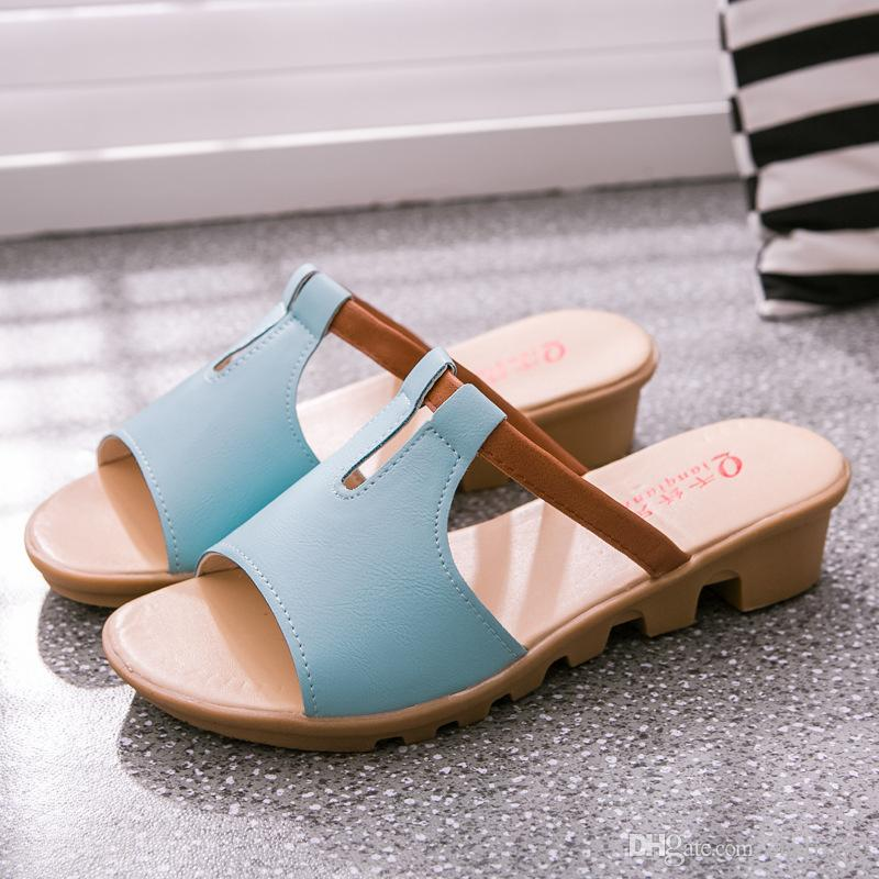 7ffb1bb2 Summer Ladies Slippers Fashion Scuffs Slipper Unicorn Slippers Casual Flip  Flops Large Size Shoes Woman Slope With Slippers SL235 Boots Shoes Green  Shoes ...