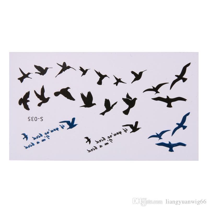 10 Feuilles / Set Nouveau Design Volant Oiseaux Hommes Et Femmes Faux Tatouage Imperméable À L'eau Corps Art Temporary Tatouage Autocollants