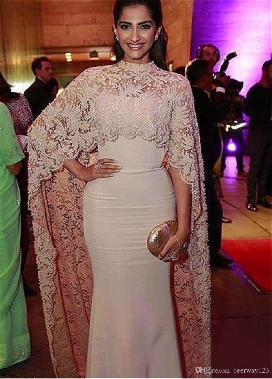 Fabulous Lace & Stretch Satin High Collar Saudi Arabia Style Evening Dresses with Long Wrap Champagne Prom Dress vestidos longos de festa