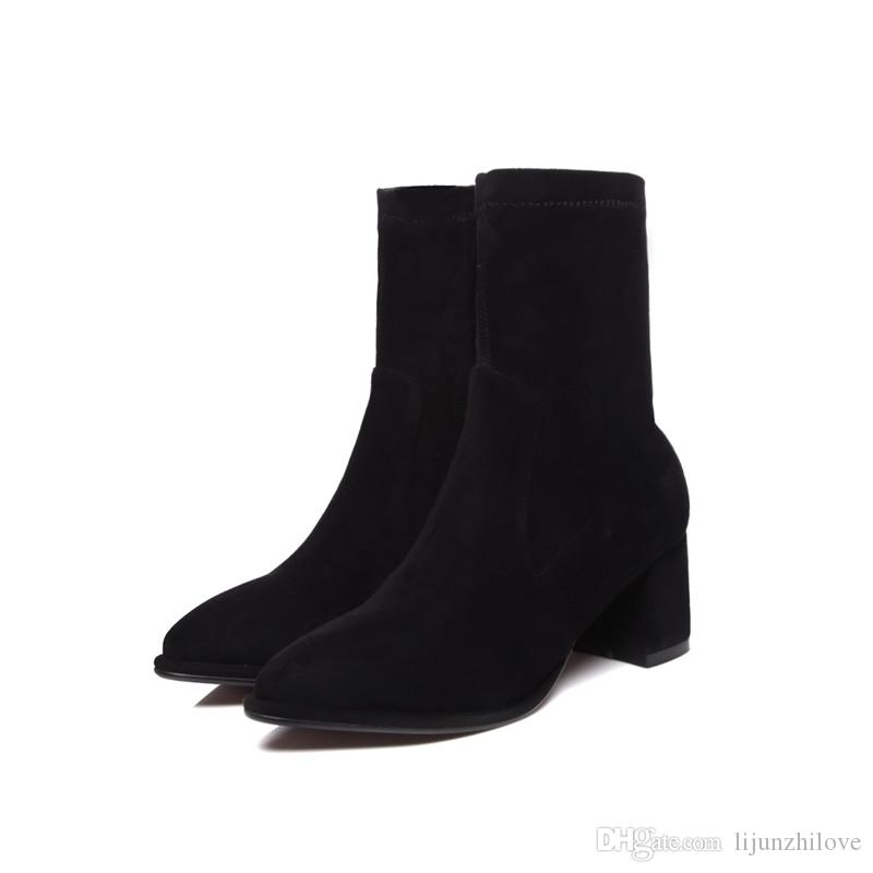 Inside pigskin womens boots fashion elegant high heels shoes ankle boots for women flock solid zipper big size 34-42