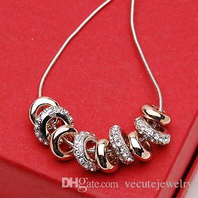 موضة جديدة 18K الذهب الأبيض مطلية النمساوية Cryatal سحر قلادة للمجوهرات النساء زفاف عالية الجودة شحن مجاني