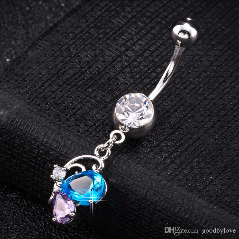 18K White Gold Plated Big CZ Multicolor Zircon Butterfly Cute Animal Navel Ring