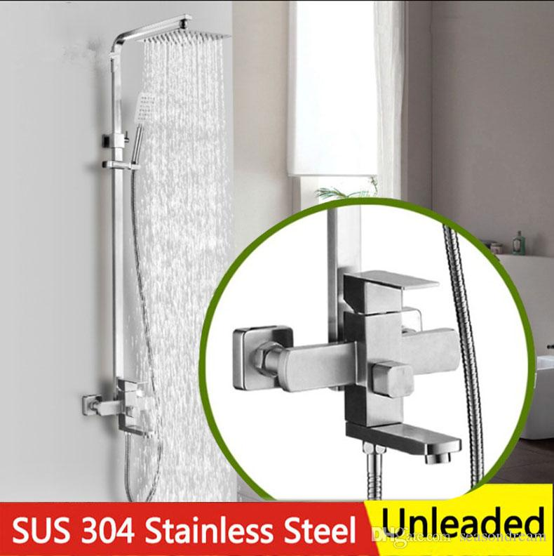 2018 Square Bath Shower Suit 1 Handle Control 3 Water Outlet Can ...