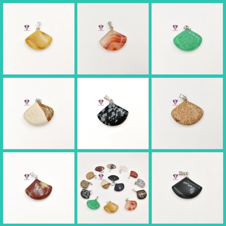 Natural stone tiger eye stone crystal gemstone Black Onyx pendant treatment stone mixed color wholesale fan pendant necklace