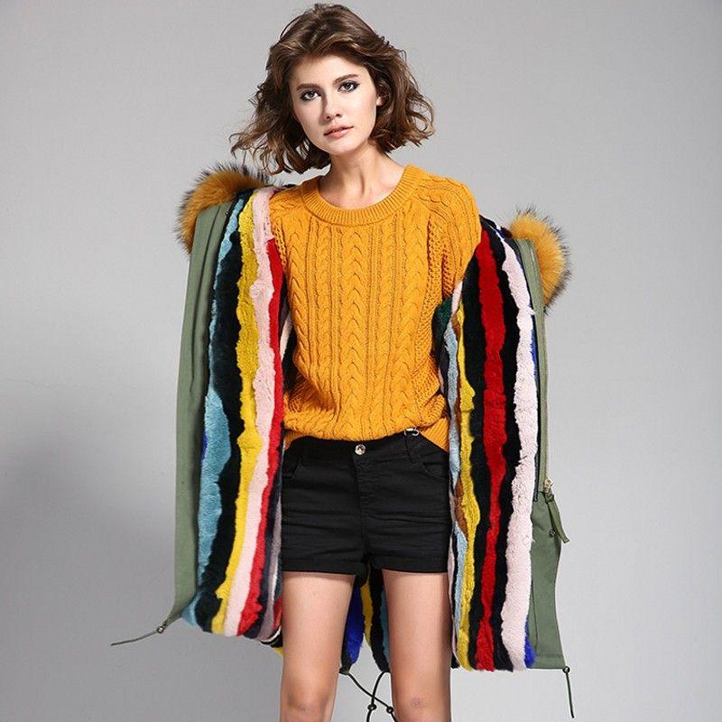 2017 new High quality fashion women luxurious big raccoon fur collar coat with rabbit wool hood warm winter jacket liner parkas long top