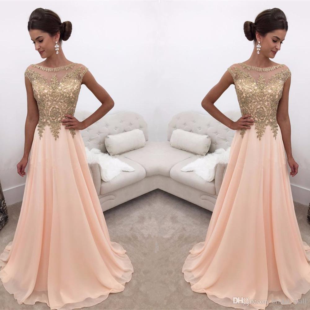 Simple Elegant Modest Lace Wedding Dress With Scallop Lace: Elegant Gold Lace Appliques Prom Dresses 2017 A Line