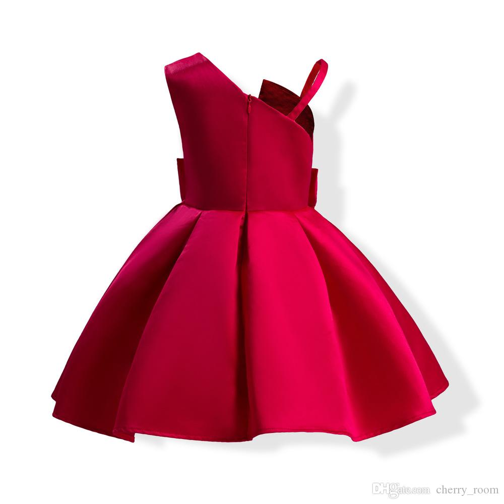 Baby Girls Princess Dresses Suspenders Strapless Kids Ball Gown Summer Autumn Big Bow Children Party Dress Kid Clothing C2248
